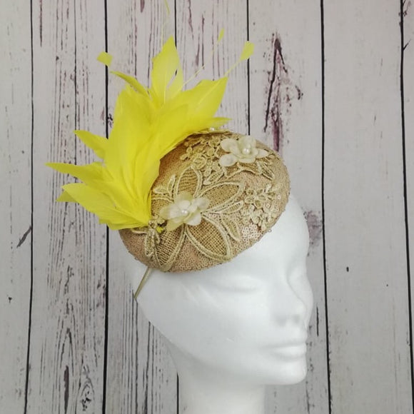 Gold and yellow fascinator - My Fascinators