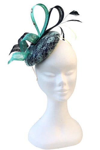 Swirl Mint and navy fascinator - My Fascinators