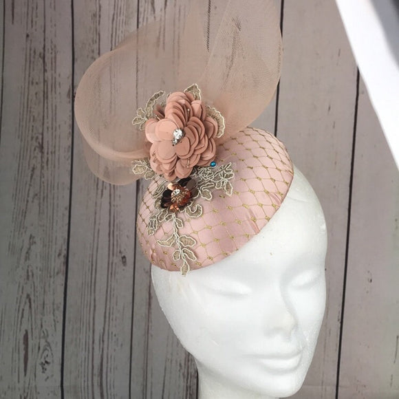 Peach and gold fascinator - My Fascinators