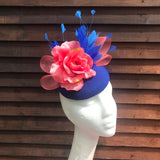 Royal blue & coral fascinator