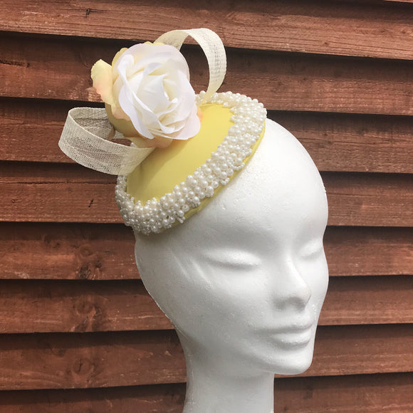 Lemon, rose pearl fascinator - My Fascinators