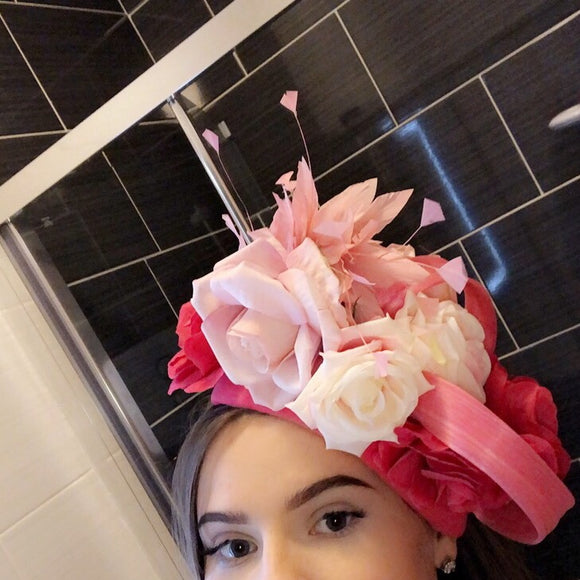 Pink floral side crown fascinator hat