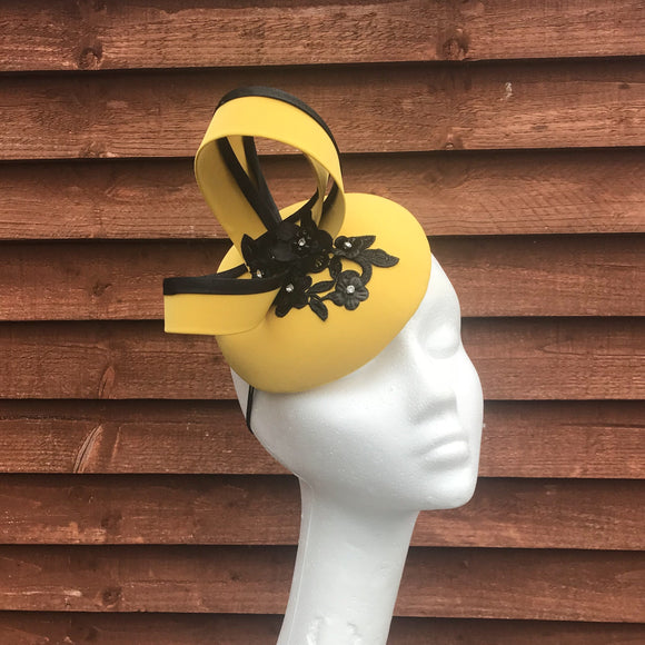 Mustard and black fascinator - My Fascinators