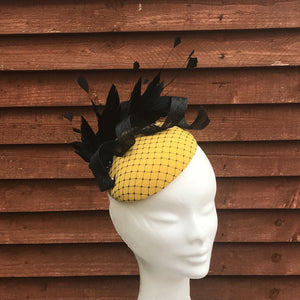 Yellow and black fascinator - My Fascinators
