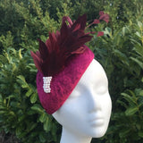 Wine teardrop fascinator - My Fascinators
