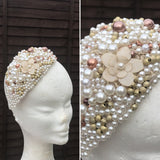 Ivory pearl and gold beaded fascinator - My Fascinators