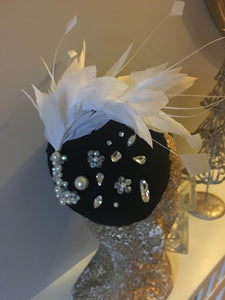 black and cream embellished fascinator - My Fascinators