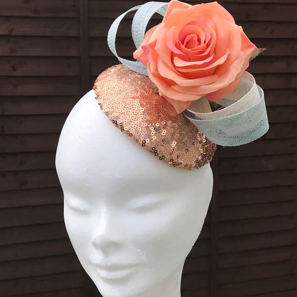 Copper & coral fascinator - My Fascinators