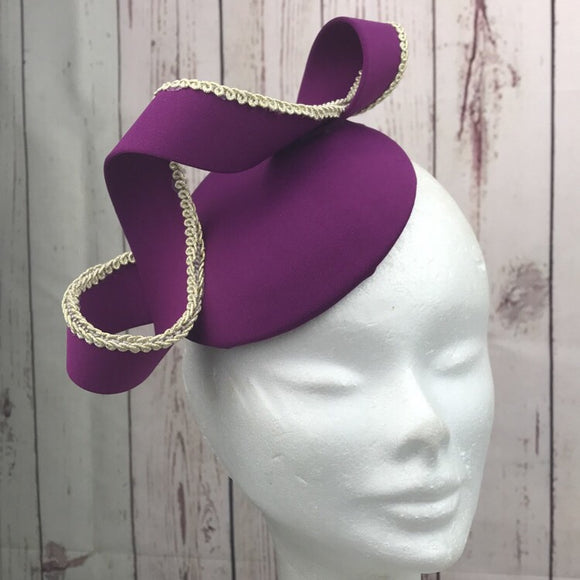 Purple and gold trim fascinator - My Fascinators