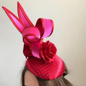 red and pink fascinator