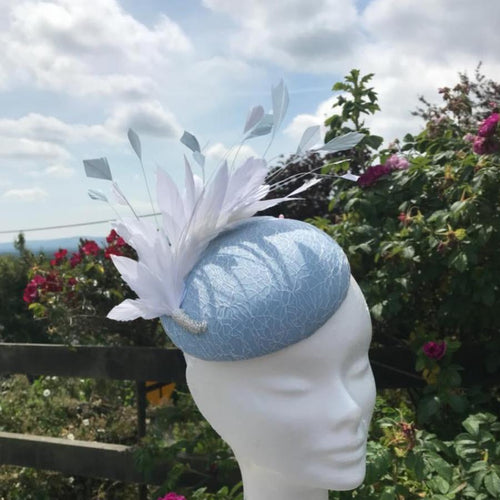 Baby blue and white fascinator - My Fascinators