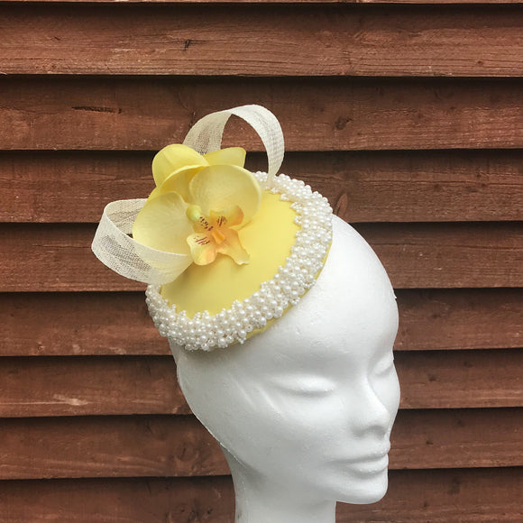 Zest lemon and pearl fascinator - My Fascinators