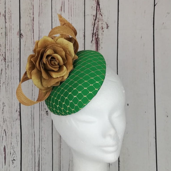 Emerald green and gold fascinator - My Fascinators