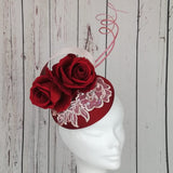 Wine red and baby pink fascinator - My Fascinators