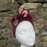 Wine and rose gold hairband fascinator