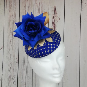 Royal blue and gold fascinator - My Fascinators