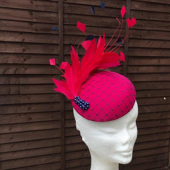 Cerise Pink and Navy Fascinator - My Fascinators