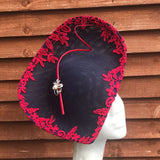 Navy and red lace fascinator