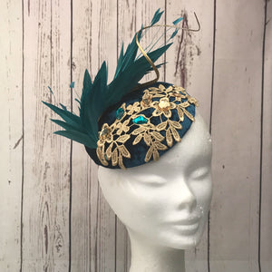 Teal and gold velvet fascinator - My Fascinators