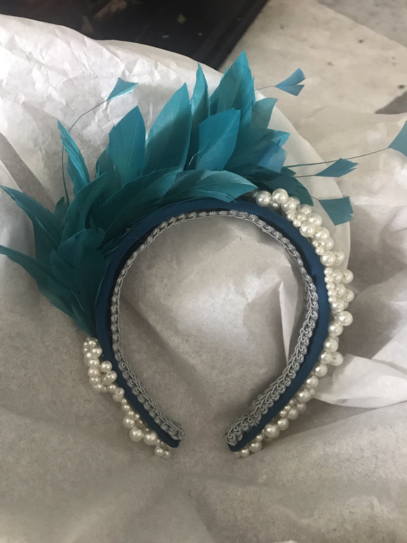 Teal feather and pearl hairband fascinator
