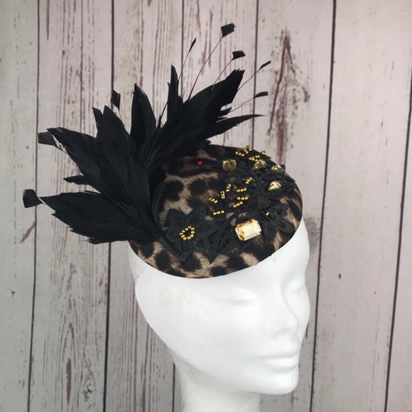 Leopard Print , gold and black feather fascinator - My Fascinators