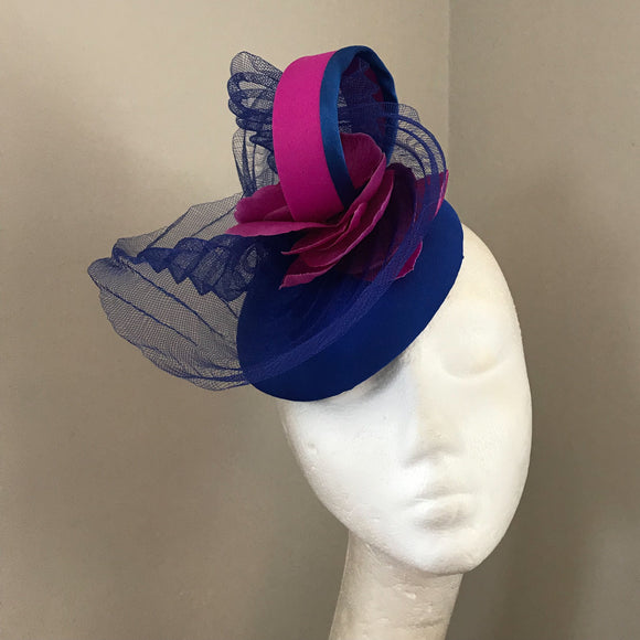 Cobalt blue and magenta pink fascinator