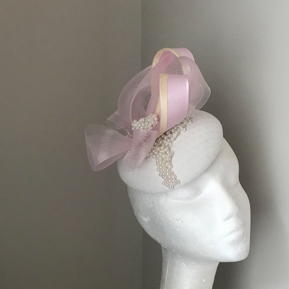 Vanilla and baby pink fascinator