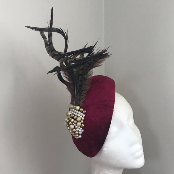 Wine velvet teardrop fascinator