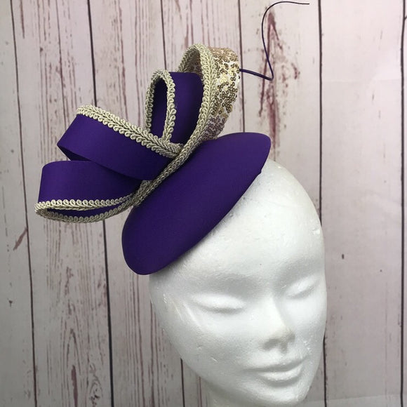 Cadbury purple and gold fascinator - My Fascinators