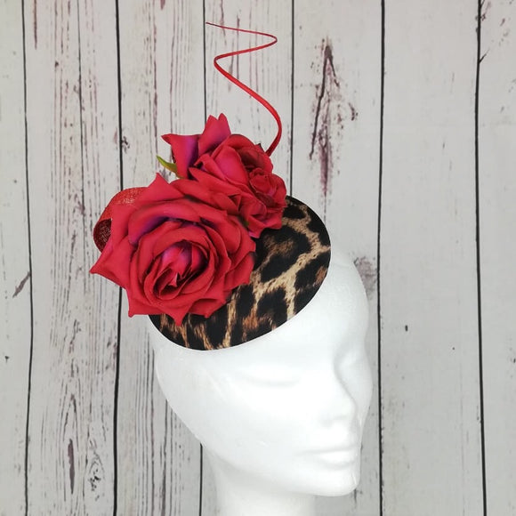 Leopard print and red pink flower fascinator - My Fascinators