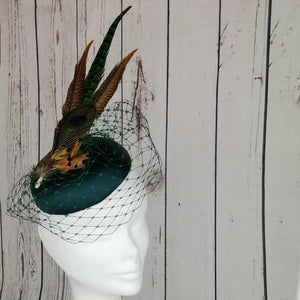 Green peacock feather fascinator - My Fascinators