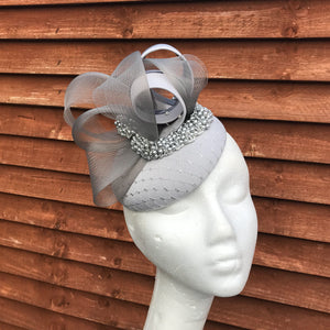 Genevieve grey and silver fascinator