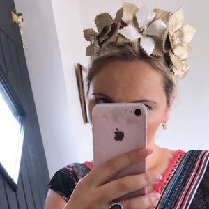 gold and cream fascinator crown