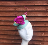 Mint and magenta pink orchid fascinator