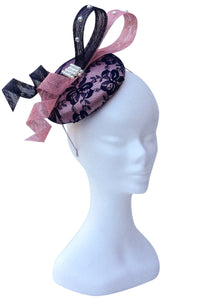 dusty pink and navy fascinator