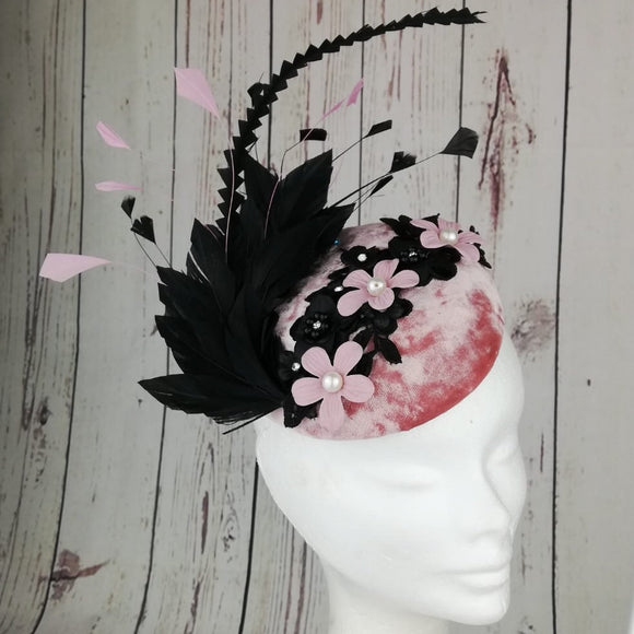 Pink velvet and black fascinator - My Fascinators