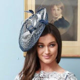 Navy and Silver Fascinator Headpiece - My Fascinators