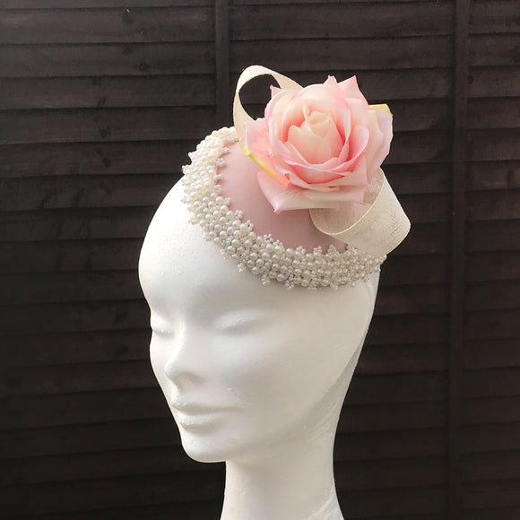Dusty pink and pearl fascinator - My Fascinators