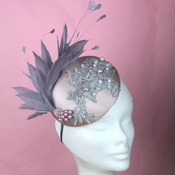 Pale Pink and grey fascinator - My Fascinators
