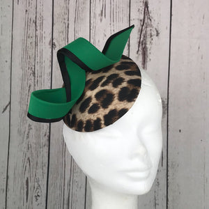 Leopard print and green swoop fascinator - My Fascinators