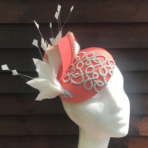 Peachy Coral & Vanilla cream Fascinator