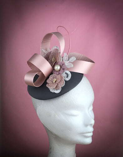 Grey and pink fascinator - My Fascinators