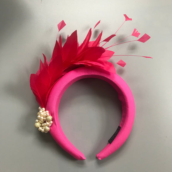 Pink feather hairband fascinator