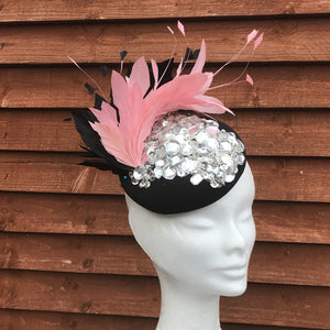 Pink and black fascinator - My Fascinators