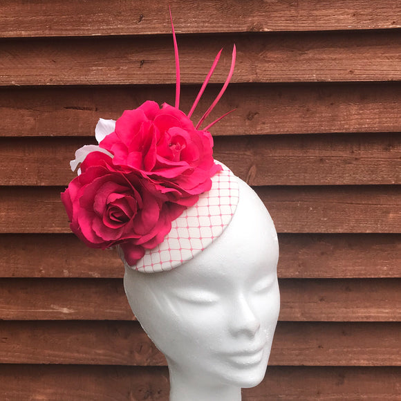 Vanilla and pink fascinator hat - My Fascinators
