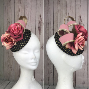 Black and blush pink fascinator - My Fascinators