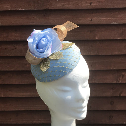 Baby blue and gold fascinator - My Fascinators