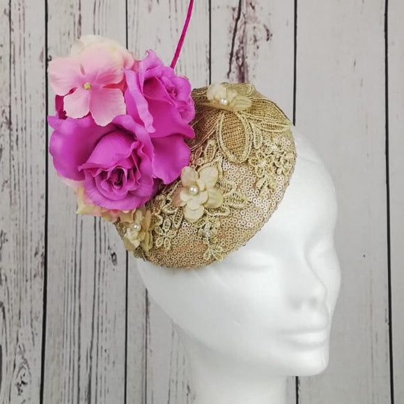 Gold and pink fascinator - My Fascinators