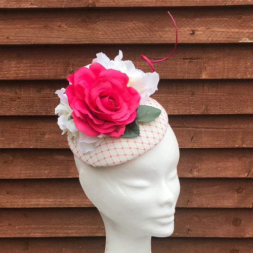 Pink and ivory fascinator - My Fascinators