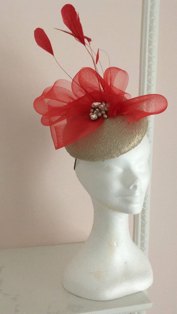 Gold and poppy red fascinator - My Fascinators